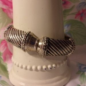 Textured Silver Tone Clamp Style Bracelet